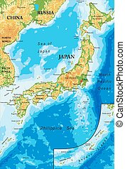 Japan relief map - Highly detailed physical map of Japan, in...