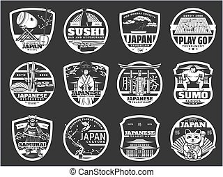 Japan religion, history and culture, sushi icons