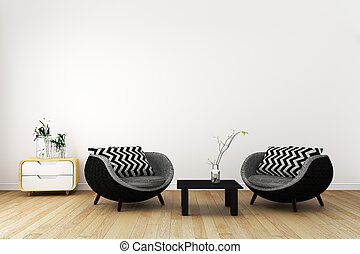 Japan room interior - Japanese style. 3D renderin