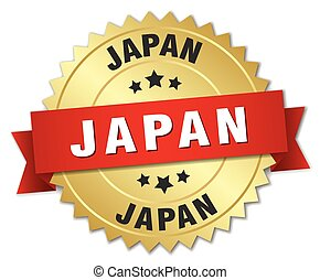 Japan round golden badge with red ribbon