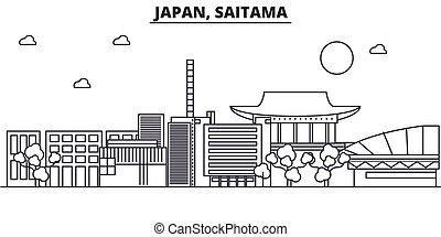 Japan, Saitama architecture line skyline illustration....