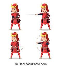 Japan Samurai Red Armor Character Vector
