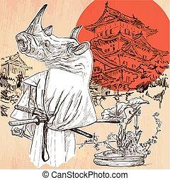 Japan. Samurai rhino. An hand drawn vector picture. Line art illustration.