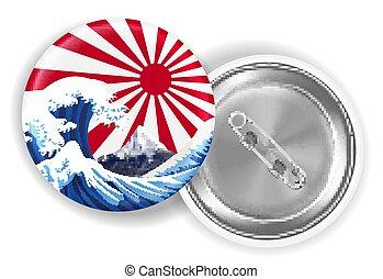 japan sea wave mt.fuji on rising sun flag brooch