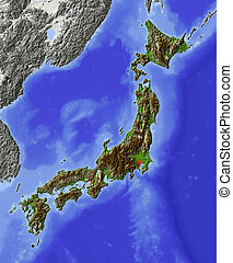 Japan, shaded relief map - Japan. Shaded relief map, with ...