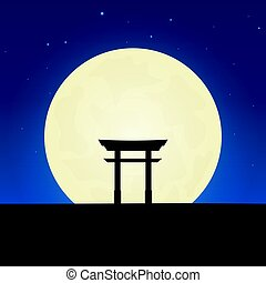 Japan silhouette of attraction. Travel banner with moon on...