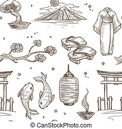 Japan sketch pattern background. Vector seamless design
