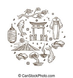 Japan sketch symbols travel to Oriental country Japanese culture