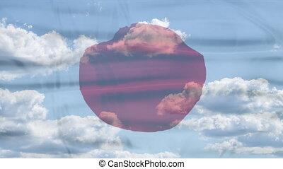 Japan Sky Flag - Waving flag of Japan, red white colors. 3d...