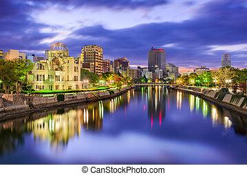 japan, skyline, hiroshima