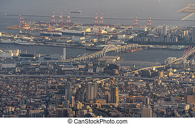 Japan skyline, Kobe and Osaka cityscape