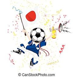 Japan Soccer Fan with Ball Head.