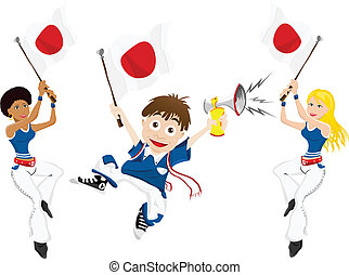 Japan Sport Fan with Flag and Horn