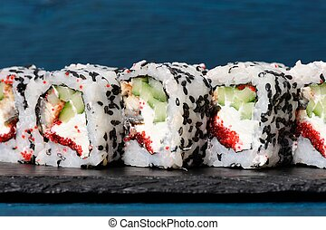 Japan square roe row rolls on stone plate