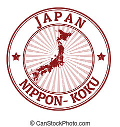 Grunge rubber stamp with the name and map of Japan, vector illustration