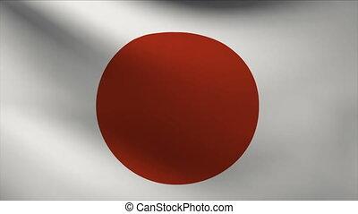 japan flag waving gently in wind
