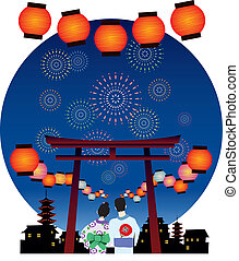 JAPAN SUMMER FESTIVAL vector graphic