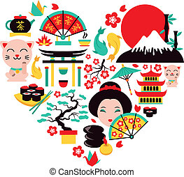 Japan symbols set in heart shape with traditional food and travel icons vector illustration