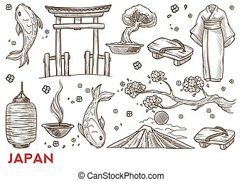 Japan symbols Japanese nature and culture traveling and tourism