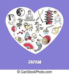Japan Symbols Pen Drawn Doodles Vector Collection