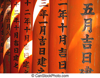 This is a detail from a very interesting tunnel made by hundreds of wooden orange gates, in Inari temple from Kyoto Japan.