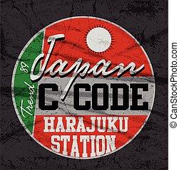 Japan Tokyo typography, t-shirt graphics, vectors