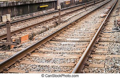 Japan train station . ( Filtered image processed vintage...