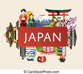 Japan travel poster with girl in traditional kimono, torii gate, fujiyama, buddha statue, ancient temples and other, vector illustration. Traditional attractions. Worldwide traveling. Japanese culture