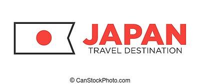 Japan travel destination advertisemant with national flag illustration