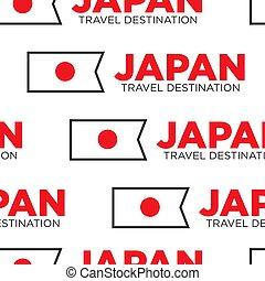 Japan travel destination Japanese national flag seamless pattern