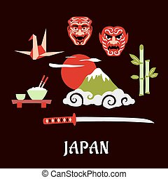 Japan travel flat concept with cultural symbols