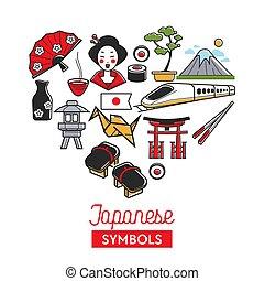 Japan travel landmark symbols vector poster