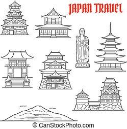Japan travel landmarks thin line icons of Fuji mountain and...