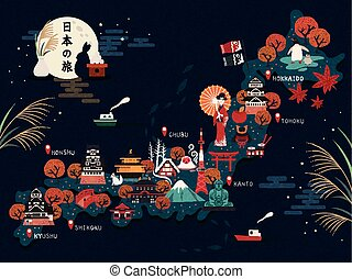Japan travel map, attractive landmarks and culture elements