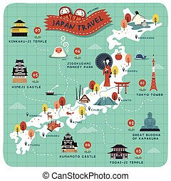 Japan travel map, historical sites on lovely map