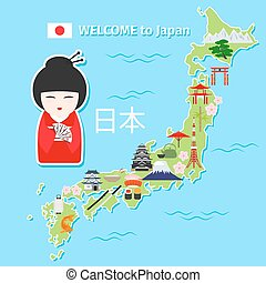 Japan travel map. Tourist destination scheme with landmarks...