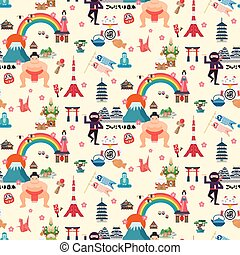 Japan travel map seamless pattern design with attractions