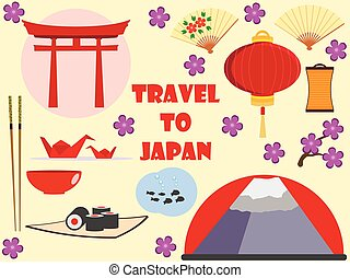 Japan. Travel to Japan. Character set. Flat icons set.