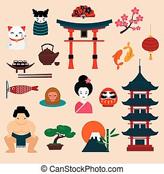 Japan travel vector illustration. Vacation time, Japan...