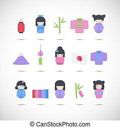 Japan vector flat icon set