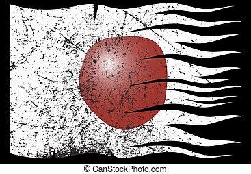 japan vlag, golvend, grunged