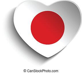 japan vlag, hart, papier, sticker