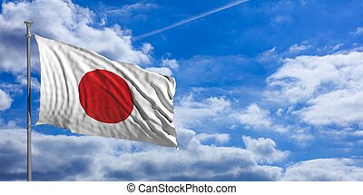 Japan waving flag on blue sky. 3d illustration