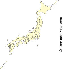 Japan, editable vector map broken down by administrative districts, in color, all objects editable. Great for building sales and marketing territory maps, illustrations, web graphics and graphic design.