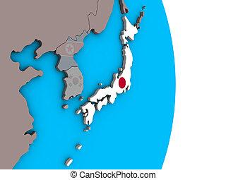 Japan with flag on 3D globe