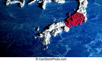 Japan - with label, tilt up - Japan map and flag - with...