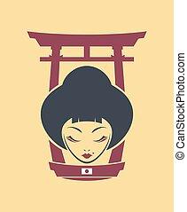 japan woman torii illustration