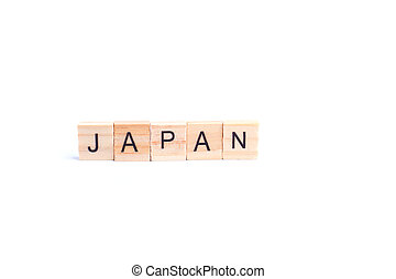 JAPAN word on square tile concept isolated on white background