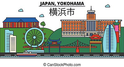 Japan, Yokohama. City skyline architecture, buildings,...
