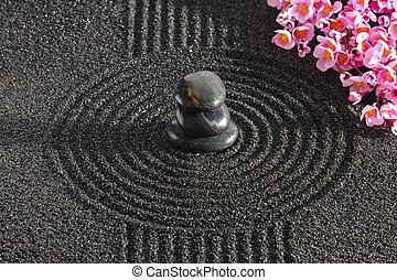 Japan zen garden - Japan garden with stacked stones in raked...